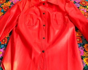 Vintage Zion Red Vinyl Snap Up Retro Jacket Coat Big Pointy Collar Western Style 70s