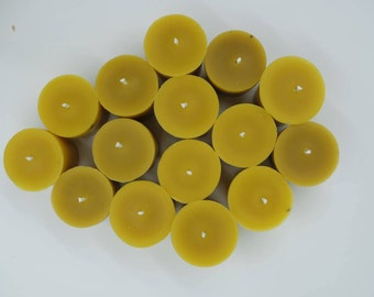Raw, unfiltered beewax votive candles, set of 15