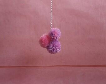 Handmade 3 Pom Pom Keyring / Bag Charm