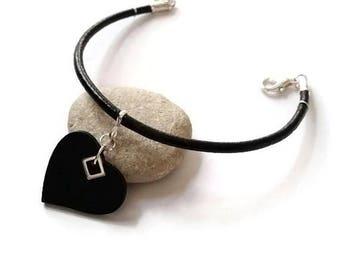 Heart Charm Bracelet Leather Bangle Black Love Jewelry Handmade Fashion Jewellery