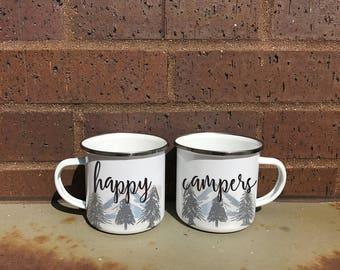 Happy Campers Camper Mug Set, Nature Mug, Tin Mug, Mountain Mugs, Matching Camper Mugs