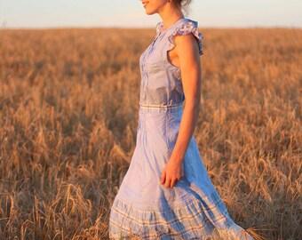 Maxi cotton skirt Blue dream