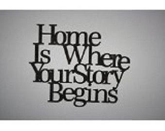 "Wall word ""Home is where your story begins"""