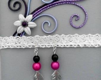 Black beads and Fuchsia earrings