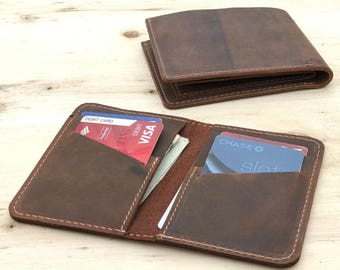 Personalized Bifold Leather Wallet, Unisex Wallet, Minimalist Leather Wallet, Slim Leather Wallet,  portefeuille