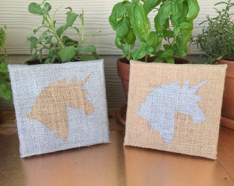 Quirky Hand-Painted Unicorns on Burlap Canvas - Silver Silhouette Pair Wall Decor