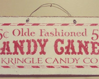 Rustic Wood and Wire Candy Canes Wall Hanging Sign Winter Christmas Primitive