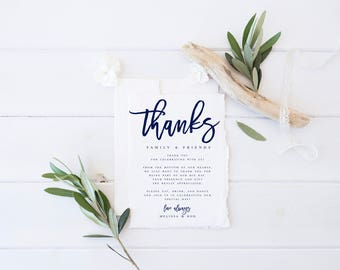Navy Modern Wedding Thank You letter Template  Wedding Thank You Template Thank you Note Template Wedding Letter Template