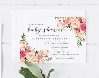Pink Bohemian Floral Spring Baby Shower Invitation Template DIY Baby Shower  Template Pink Baby Shower Invitation