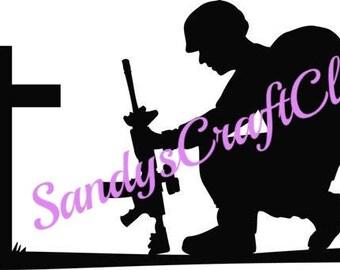 Solider Kneeling At Cross Svg File