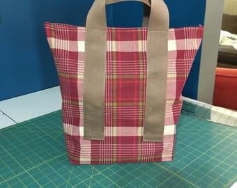 Shopping Tote in Maroon and Tan Plaid