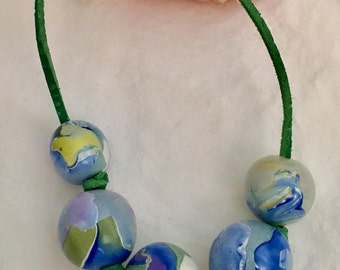 Polymer True Blue Monet-Inspired Bead Necklace