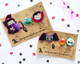 Spookyrrific Clips for your Halloween, Halloween Planner Clip, Clip, Clip Bookmark Filofax-Witch, Dracula, Zombie, Bat, Candy Corn & Mummy