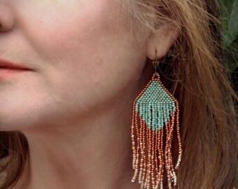 Turquoise Waters Beaded Copper Fringe Boho Statement Earrings