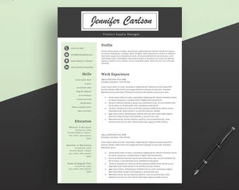 Professional Resume Template, Instant Download. Resume Template, Modern Resume Template, Professional CV Template for Word and Pages.