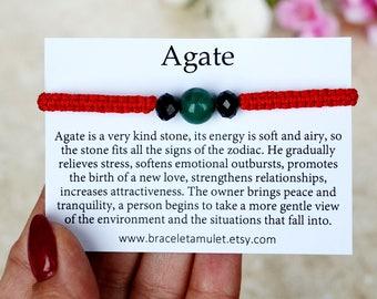 Agate bracelet Stone amulet Natural bracelet Protection gemstone Natural agate Macrame bracelet Womens gift Energy bracelet Bracelet gift