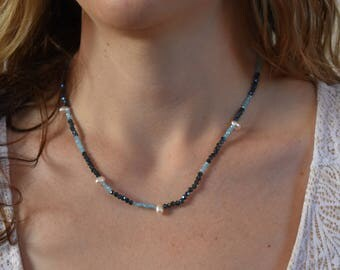 """Delicate Freshwater Pearl, Seed Bead, and Sterling Silver Necklace 19"""""""