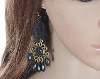 Black Dotted Earrings