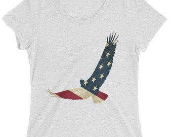 Women's Triblend The American Eagle Patriot Flag 4th of July T-Shirt - Perfect Gift Idea