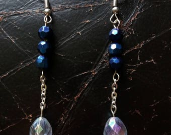 hanging beads and chain earrings