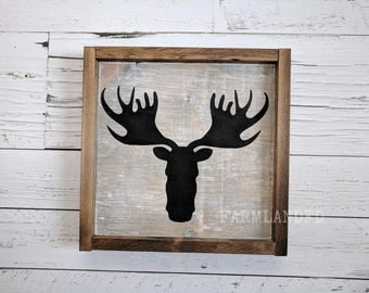 Moose Sign, Hunting sign, Rustic sign, Custom. Gifts. Boy's room