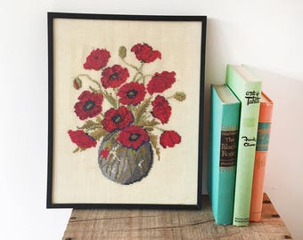 Vintage Cross Stitch Needlepoint Poppies Picture - framed wall art embroidery - red poppy flowers - cream linen matt glass - anzac day #0530