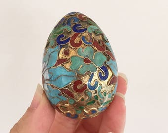 Cloisonne Enamel Egg - Asian floral flowers - Chinese oriental decorative eggs - gold peranakan #0612