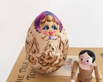 Handpainted Russian Babushka Doll - folk art floral - eclectic baby nursery child girl room decor style nesting dolls wood burned egg #0643
