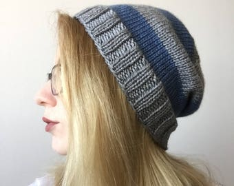 Blue and Grey Knit Slouchy Beanie