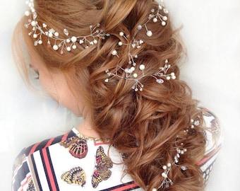 Bridal Hair Vine Long Hair Vine Beaded Hair Accessories Crystal Headband Bridal Hair Piece Wedding Wreath Bridal Pearl Hair Vine Bridal Halo
