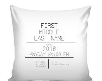 Custom Birth Stat Baby Pillow Cover 16 X 16