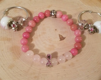 Breast Cancer Awareness Bracelet and Earrings Set