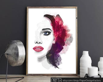 Female Portrait, PRINTABLE ART, Modern Art, Fine Art Prints, Wall Art Prints, Home Decor Prints, Watercolor Print, Watercolor Painting