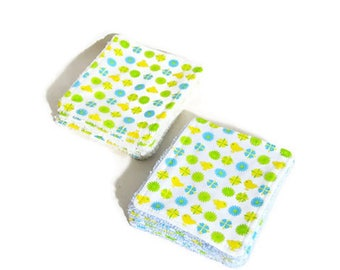 """Washable wipes Terry organic bamboo and cotton fabric """"Little birds"""""""