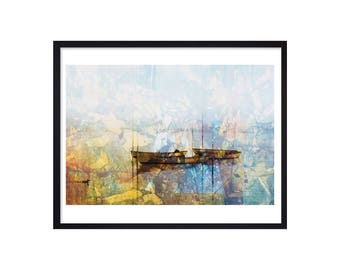 Canoe Art Print - Canoe Print - Canoe On The Lake Painting - Canoe Poster - Canoe Wall Decor
