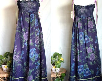 Vintage NOS 1970s Size M/L Floral Prairie Maxi Dress / Made In California JC Penney
