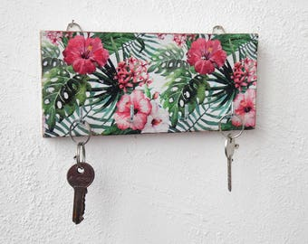 Tropical beach key holder for wall key hook rack key rack green key hook entryway key holder key organizer key storage wall key holder