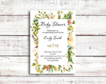 Rustic Baby shower invitation, Floral baby shower invitation, Girl baby shower, Baby girl, it's a girl, Watercolor baby shower, greenery