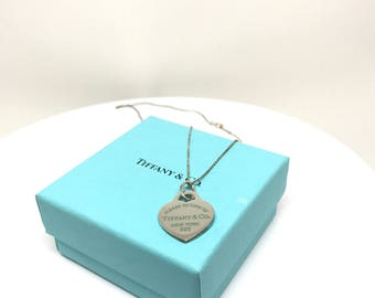 Please Return To Tiffany & Co. Sterling Silver Heart Pendant with enamel writing