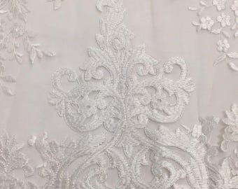 Scroll Flower Embroidered Fabric