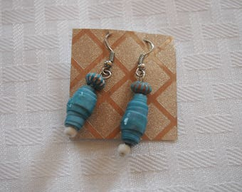 Paper Bead Earrings, Turquoise/White