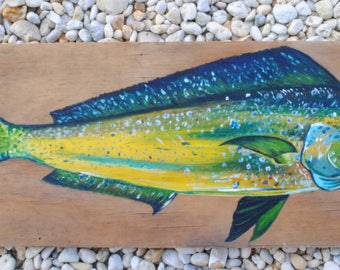 Hand-Painted Mahi-Mahi on Reclaimed Wood-Made to Order-Contact for Price