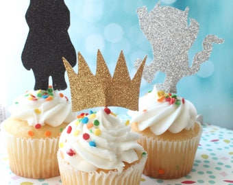 12 Double Sided,Wild One Cupcake Toppers , Wild One,Where The Wild Things Are Cupcake Toppers