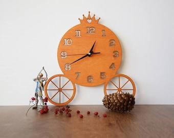 Cinderella Wall Clock, Cinderella clock, Children clock, Orange Wooden Clock, Baby Gift, Kids gift, Children Room Decor, Baby's Room Clock