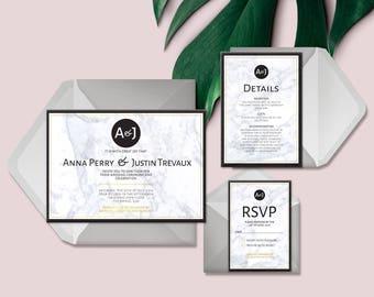 Wedding Invitation Printable | Custom | Bespoke | Minimalist | Gold | Marble | Details | Personalised | Wedding Stationery | Save the Date