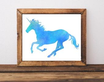 Printable Art, Blue Unicorn, Watercolor Art, Watercolor Unicorn, Home Decor, Nursery Decor, Kids Decor, Childrens Decor, Download