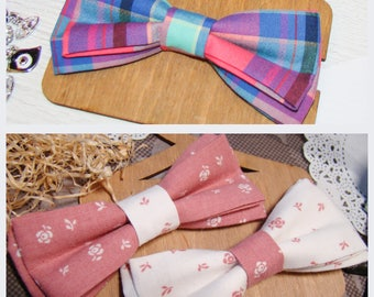 Bow Tie | Bowtie | Pink wiht white | White wiht pink | Сolorful striped | For girls | Сhild's accessory