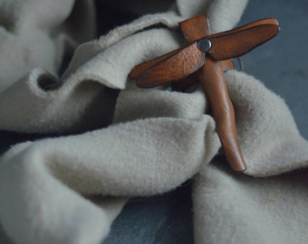Dragonfly Scarf Cuff Handmade from Leather