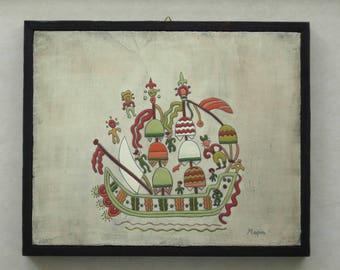 Sailing ship with sailors, wall decor,folk art panting on wooden board