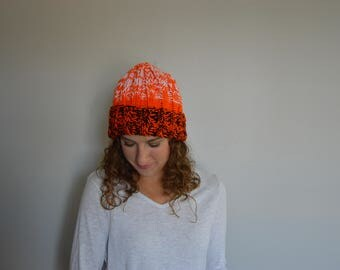 Bengals Inspired Knit Hat - Rib Knit - Orange Black White
